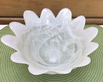 Rare Murano Floriform glass bowl. Ruffled Murano arte glass dish. Opalescent white flower formed bowl. Frosted white Murano bowl. Hand blown