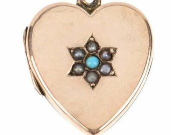 Antique Plated Heart Locket, Seed Pearl, Turqoise