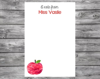 Simple Apples- 4x6 Personalized Teacher Notepad- Personalized Teacher Gifts