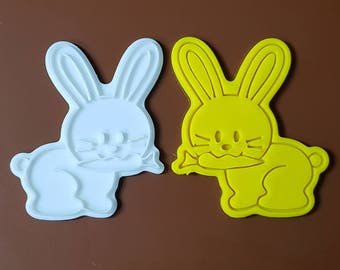 Bunny eating Carrot Cookie Cutter and Stamp