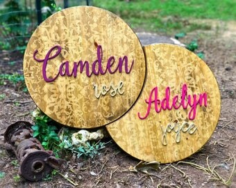 Round wood name sign, double name sign, nursery name sign, wood nursery name sign, play room decor, nursery decor, rustic nursery sign