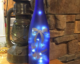 Lighted Christmas Wine Bottle