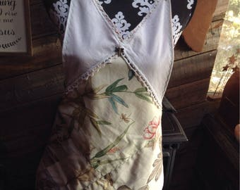 Happy apron, made from repurposed  upholstery  samples