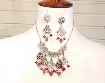 Necklace and Earring Set Rhodonite and Freshwater Pearl on Sterling Silver Chain