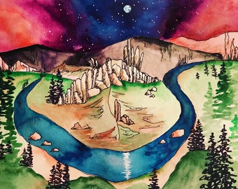 Smith rock oregon / original painting / Pacific Northwest / nature / galaxy art / crooked river / bend / central oregon