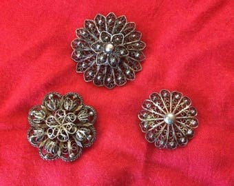 Three Antique Art Nouveau Pure Silver (1000) Filigree Brooches - 1900