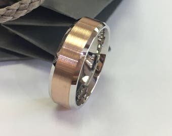 Men's 14k Two -Tone comfort -fit  Wedding Band (7mm)