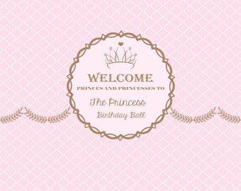 Instant Download- Pink Princess Birthday Party Banner Pink Princess Birthday Party Back Drop Pink Princess Printable Digital Copy