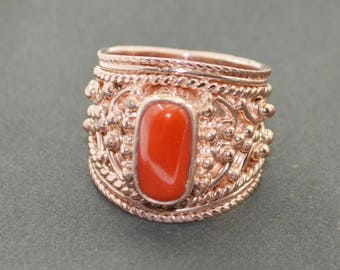 comely Rose Gold Coral Gemstone  925 Sterling Silver Ring exporter gift
