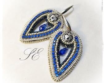 Blue Earrings with crystal drop, handmade OOAK.