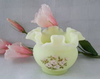 Fenton Hand-Painted Vaseline Satin Glass Rose Bowl Vase