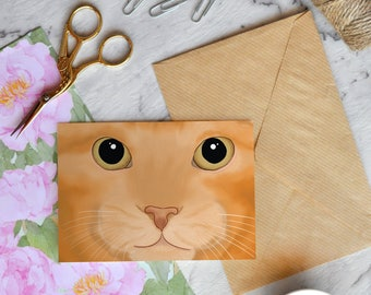 Card - Ginger cat face