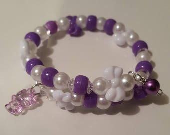 Wrap around memory wire bracelet/girls/children/purple-Lavender/Hello kitty inspired