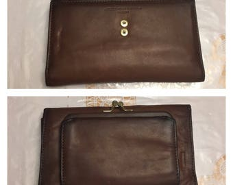 Vintage Amity Crest Collection Cowhide Leather Trifold Wallet