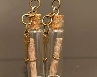 Map In a Bottle witg Arrows Charms Tiny Bottles Earrings
