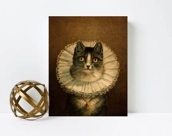 Victorian cat canvas print, cat decor, vintage decor, 8x10 gallery wrap canvas print