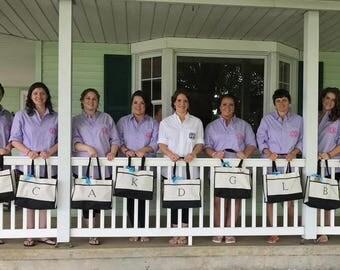Bridesmaid set of Eight Totes, Bridesmaid Gift, Bridesmaid Gifts, Bridal Party Bags, Wedding