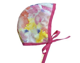Floral Baby Bonnet, Pink Bonnet, Easter Bonnet, Baby Bonnet, Newborn Bonnet, Baby Girl Bonnet, Spring Bonnet