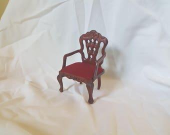 Mahogany Wood Arm Chair - Dollhouse Furniture
