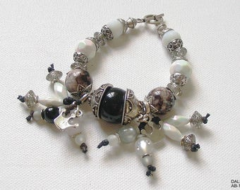 Bracelet, bracelet, jewelry, large, opulent, pearls, silver, black, white, grey, glass beads, acrylic, Crystal, Crown, gift for you, unique
