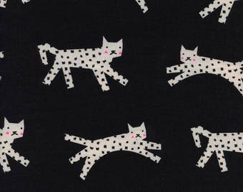 Snow Leopard Fabric, Cotton Steel Fabric, Black & White,  RJR Fabric, Unbleached Cotton, Animal Fabric, By the Yard, White Cat Fabric, Kitty