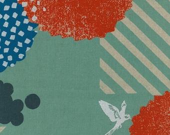 Kokka Echino 2018 Linen Canvas - Japanese Fabric - Blossom in Mint - Metallic Canvas Fabric - Half Yard (about 50cm) Pre Cut