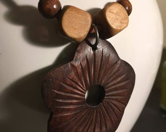 Wooden Bohemian Flower Necklace with Leather Chord