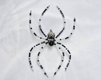 Dangling Black, Purple & Clear Beaded Spider