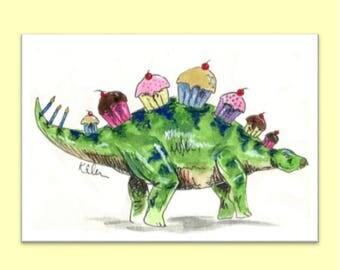 Dinosaur birthday card (stegosaurus cupcake)