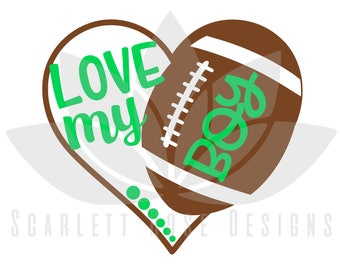 Football Heart SVG cut file, Love my Boy Football Mom for silhouette cameo and cricut
