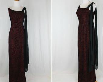 Vintage Nicole Miller Full Length Burgundy and Black Velvet Sheath Gown 4