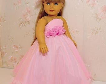 "flower princess dress (Pink) with hairpin fits American Girl Doll 18"", American Girl Doll ball gown"