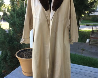 Glamorous long leather open front coat with real fur collar by DuVall's Old hollywood
