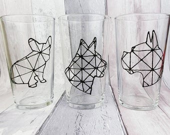 Hand painted glasses: Monochrome geometric dog design, Pint glass, Boxer, French Bulldog, Alsatian, Birthday gift, Father's Day gift for Dad