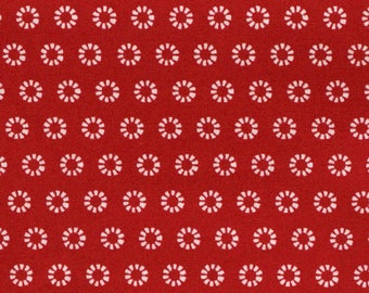 White floral pattern on red width 120 cm
