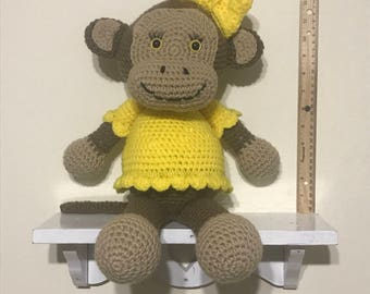 Handmade Crochet Monkey Girl - Yellow
