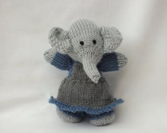 Hand Knitted Animals, Handmade Girl Elephant, Stuffed Small Soft Gift