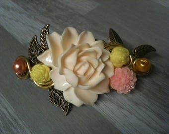 8 cm large barrette bronze /barrette wedding/hair clip flower wedding/ivory big flower bridal hair clip