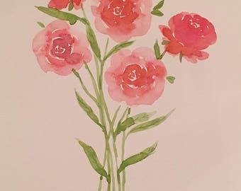 Watercolor Flower Bunch, Original Piece