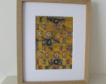 Abstract Art Weaving in Yellow with Blue Thread Ready To Ship