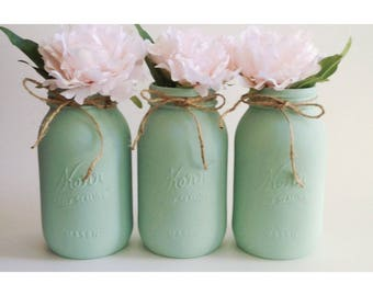 Mint Mason Jars, Mint Centerpieces, Mint Babyshower Decor