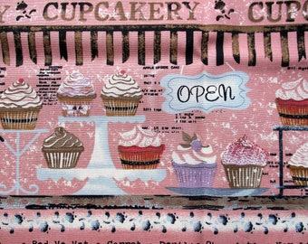 Cupcakery Fabric = cupcake print 100% cotton 50cm x 50cm fat quarter