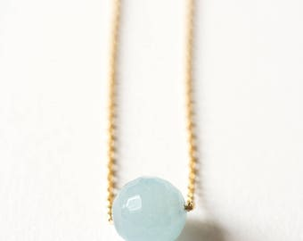 Necklace chain gold plated end and blue Agate