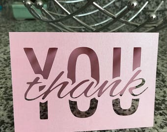 Thank You Note Cards/Laser Cut/Simple/Elegant/Weddings/Engagements/Baby Showers/Bridal Party/Bridal Shower/Wedding Shower/Friends/Greetings