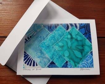 Shades of Blue, photo greeting card, blank