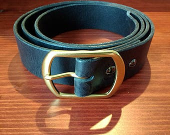 Handmade Custom Sized Leather Belt with Solid Brass Buckle