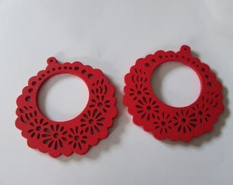prints 2 wood flowers, 56 mm red wood beads