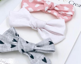 Baby Girl hand tied Bow set - Nylon - Hair clip - Infant / Toddler /  Fabric Hair Bows / Clips - gray / pink / black - true love set