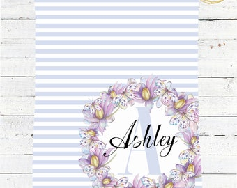Personalized Baby Blanket Girl / Blue Baby Blanket / Monogram Baby Blanket / Striped Baby Blanket / Watercolor Floral Baby Blanket / Minky