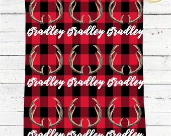 Red Buffalo Plaid Blanket / Name Baby Blanket Boy / Personalized Baby Blanket / Antler Baby Boy Gift / Buffalo Check Baby Blanket / Antlers